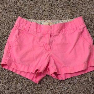 J. Crew neon pink broken in chino shorts
